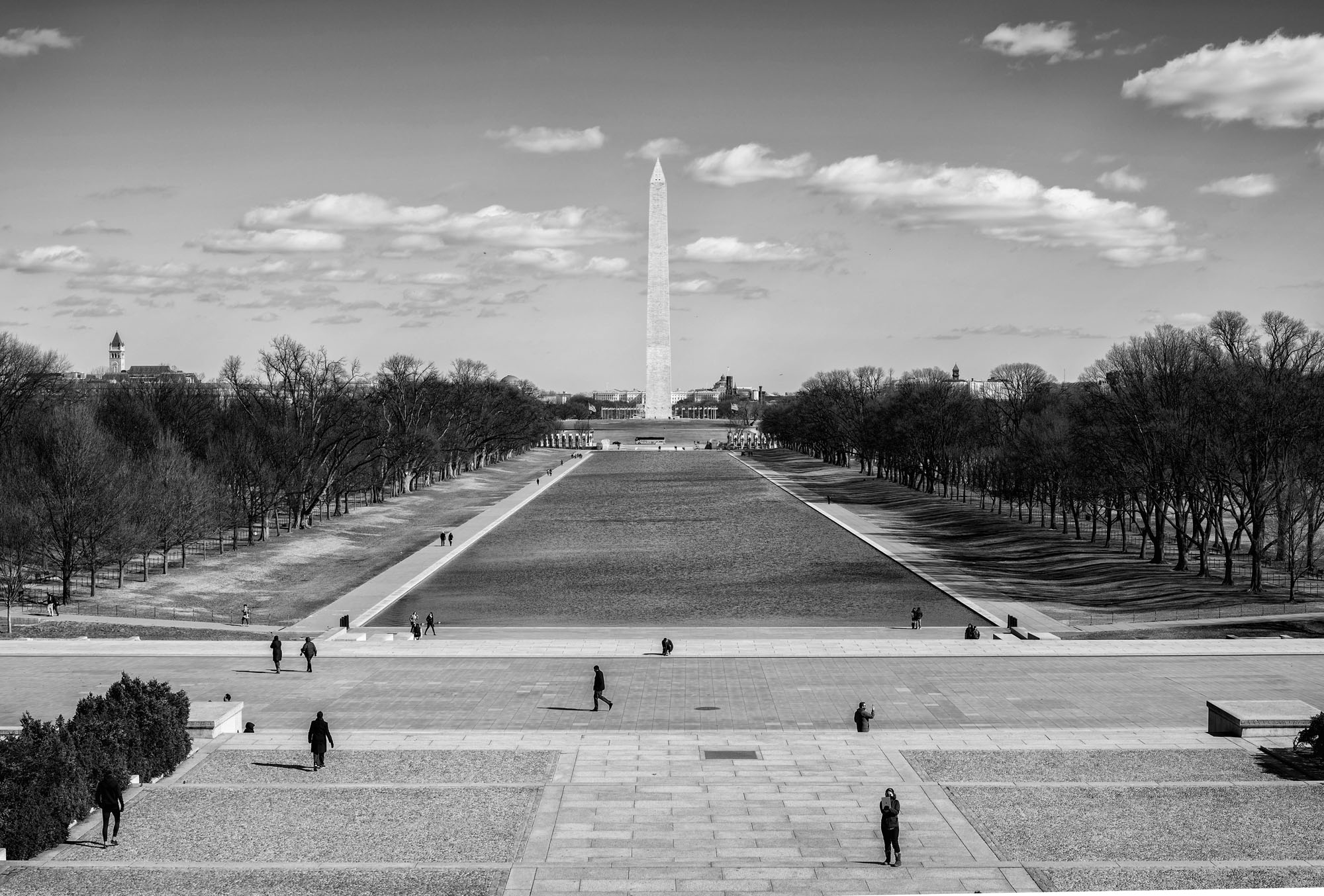 A view of the Reflecting Pool and Washington Monument from the Lincoln Memorial on February 13, 2017.