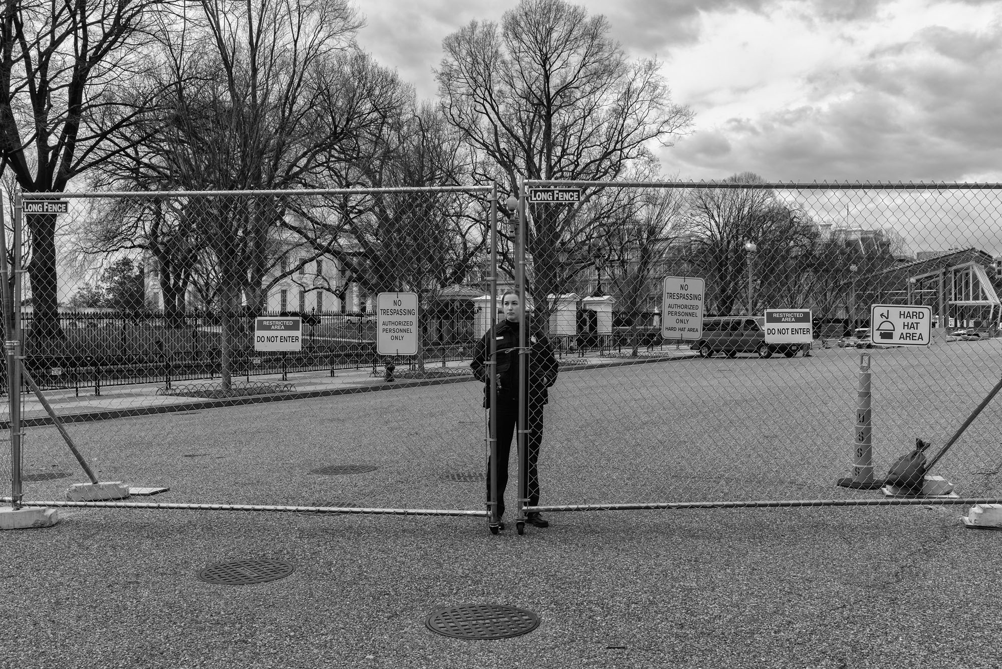 Temporary security fences surround the White House, four weeks after the Presidential Inauguration, on February 15, 2017.