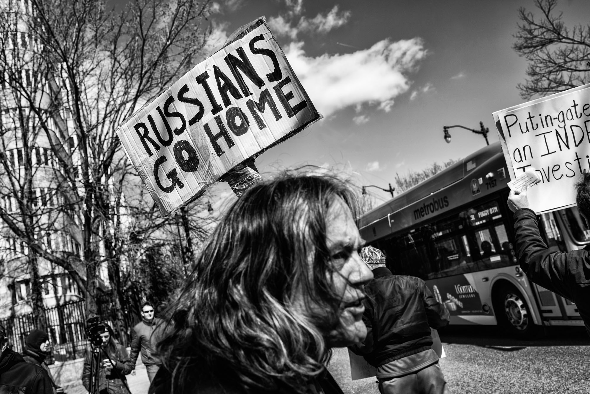 Protesters demonstrate in front of the Russian Embassy, on March 4, 2017.