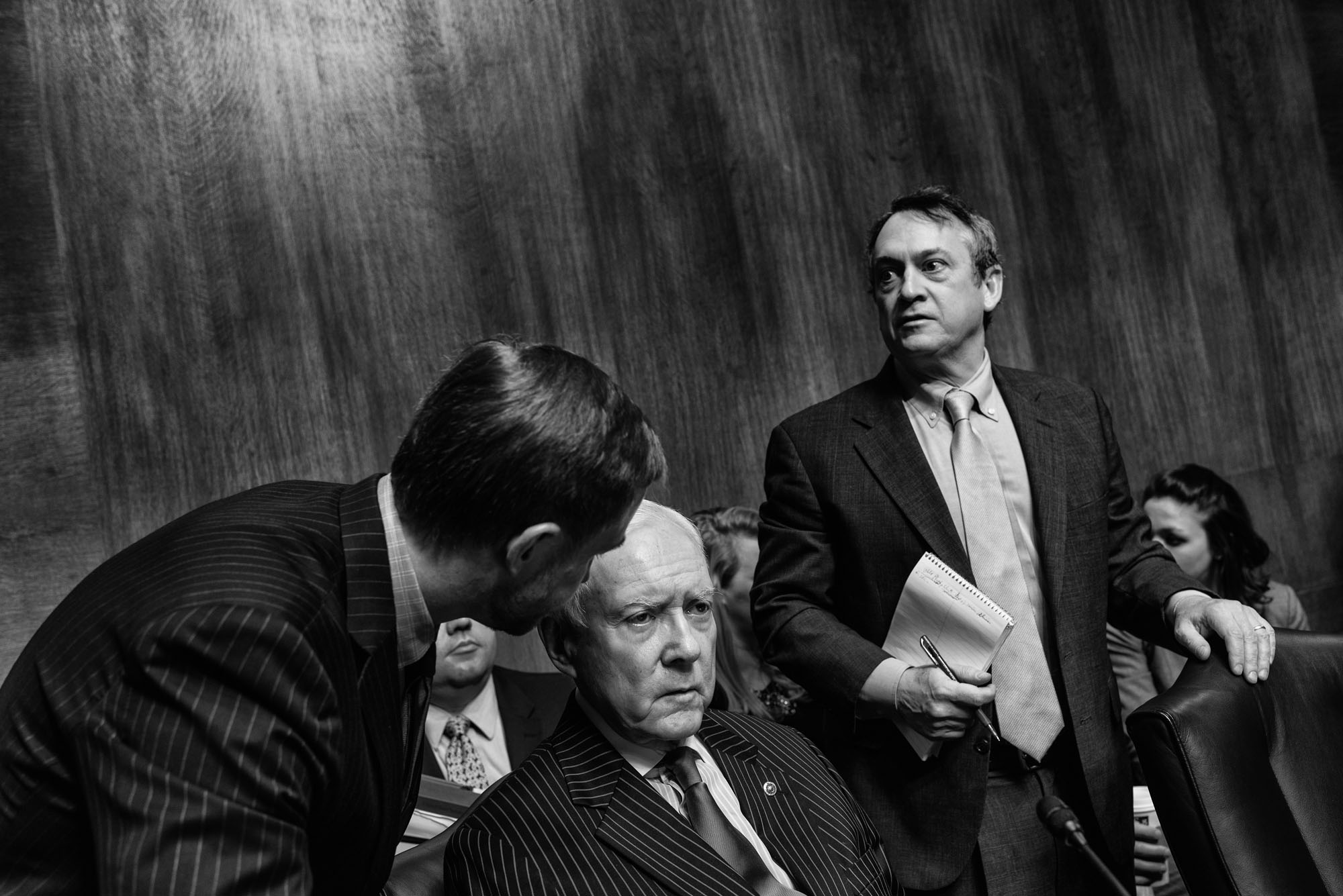 Senator Orrin Hatch convenes with aides before the start of the Senate Judiciary committee confirmation hearing for Rod Rosenstein to become deputy attorney general, on March 7, 2017.