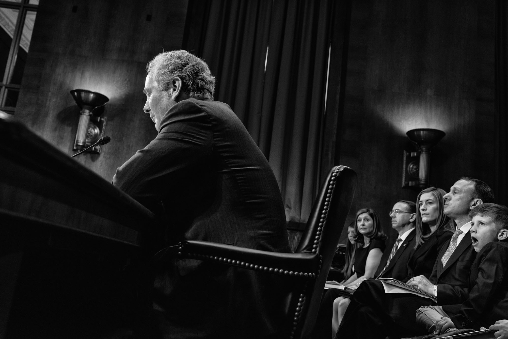 Senator Chris Van Hollen introduces Rod Rosenstein, nominee for deputy attorney general, during a Senate Judiciary Committee confirmation hearing on March 7, 2017.