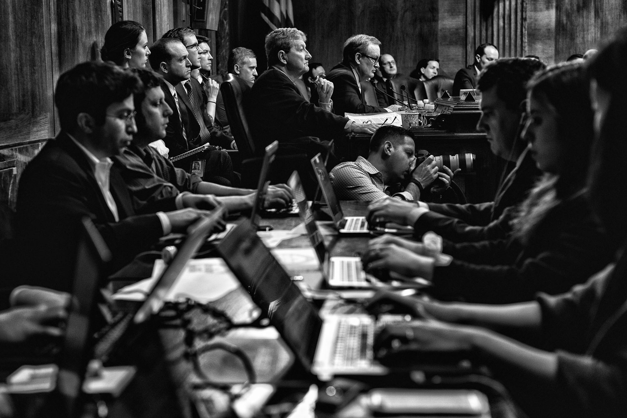 Members of the press and U.S. Senate Judiciary Committee listen to testimony during the confirmation of the deputy attorney general, on March 7, 2017.