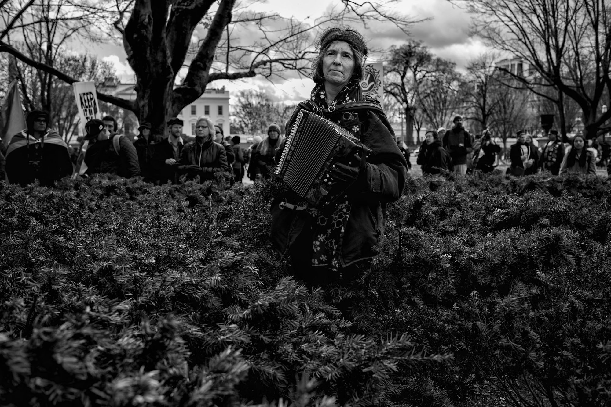 A woman plays the accordion in Lafayette Park during the Nation Nations March on DC demonstration, on March 10, 2017.