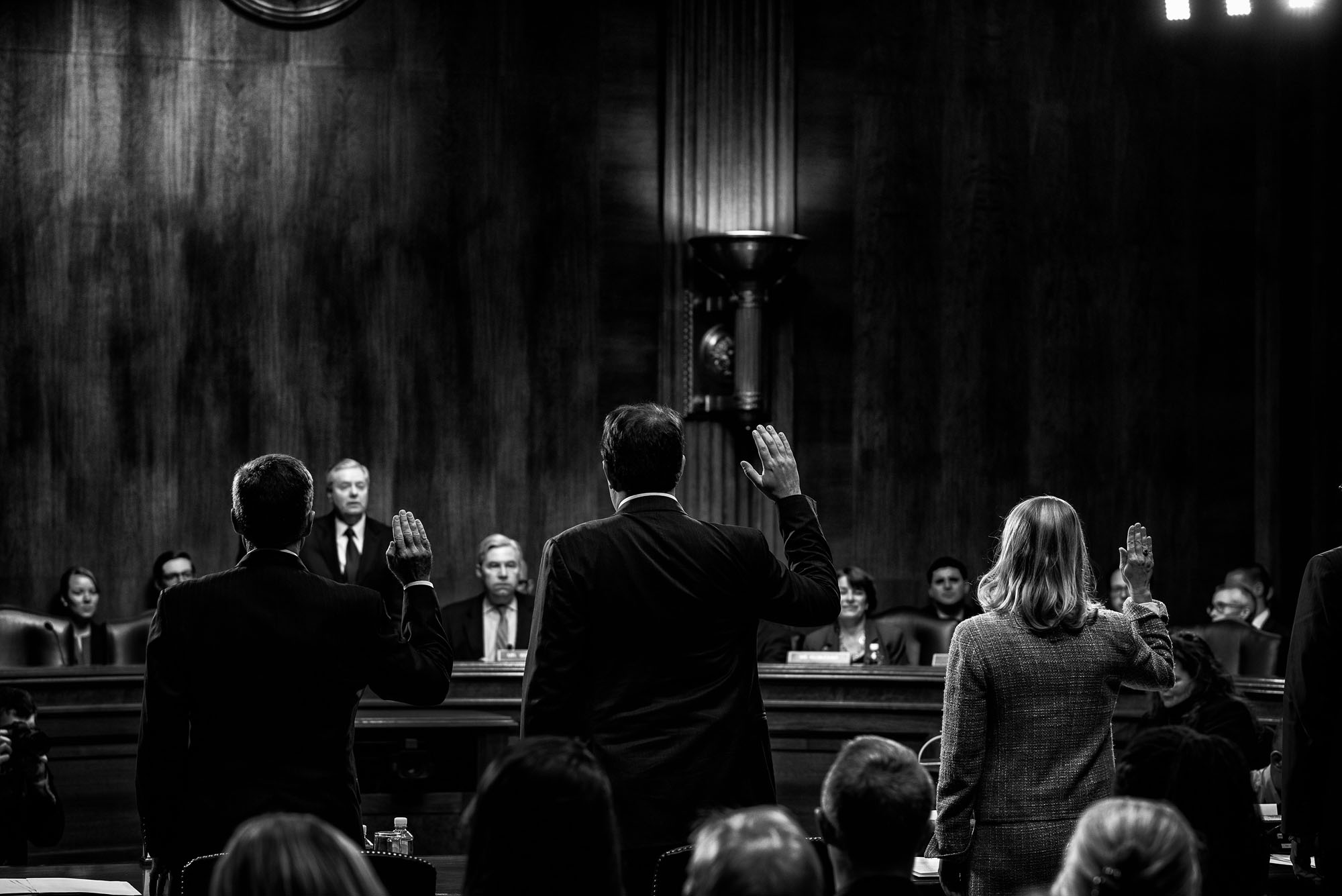 Witnesses are sworn in before Senate Judiciary Subcommittee on Crime and Terrorism to testify on Russia's attempts to influence democratic countries around the world, on March 15, 2017.