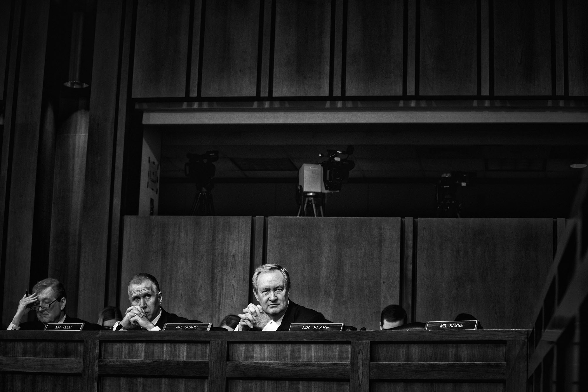 Senators Kennedy, Tillis and Crapo (L to R) listen to the testimony of Judge Neil Gorsuch during the third day of his Supreme Court confirmation hearing before the Senate Judiciary Committee on March 22, 2017.