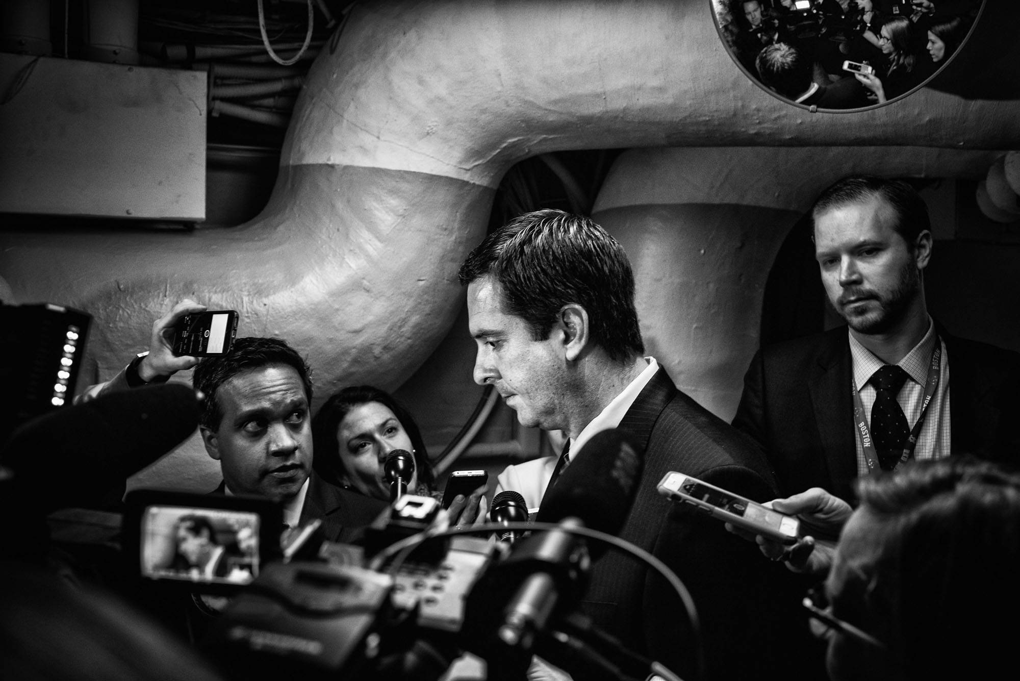 House Intelligence Committee Chairman Devin Nunes (R-CA) speaks with the media after attending a closed House Republican conference, on March 28, 2017.