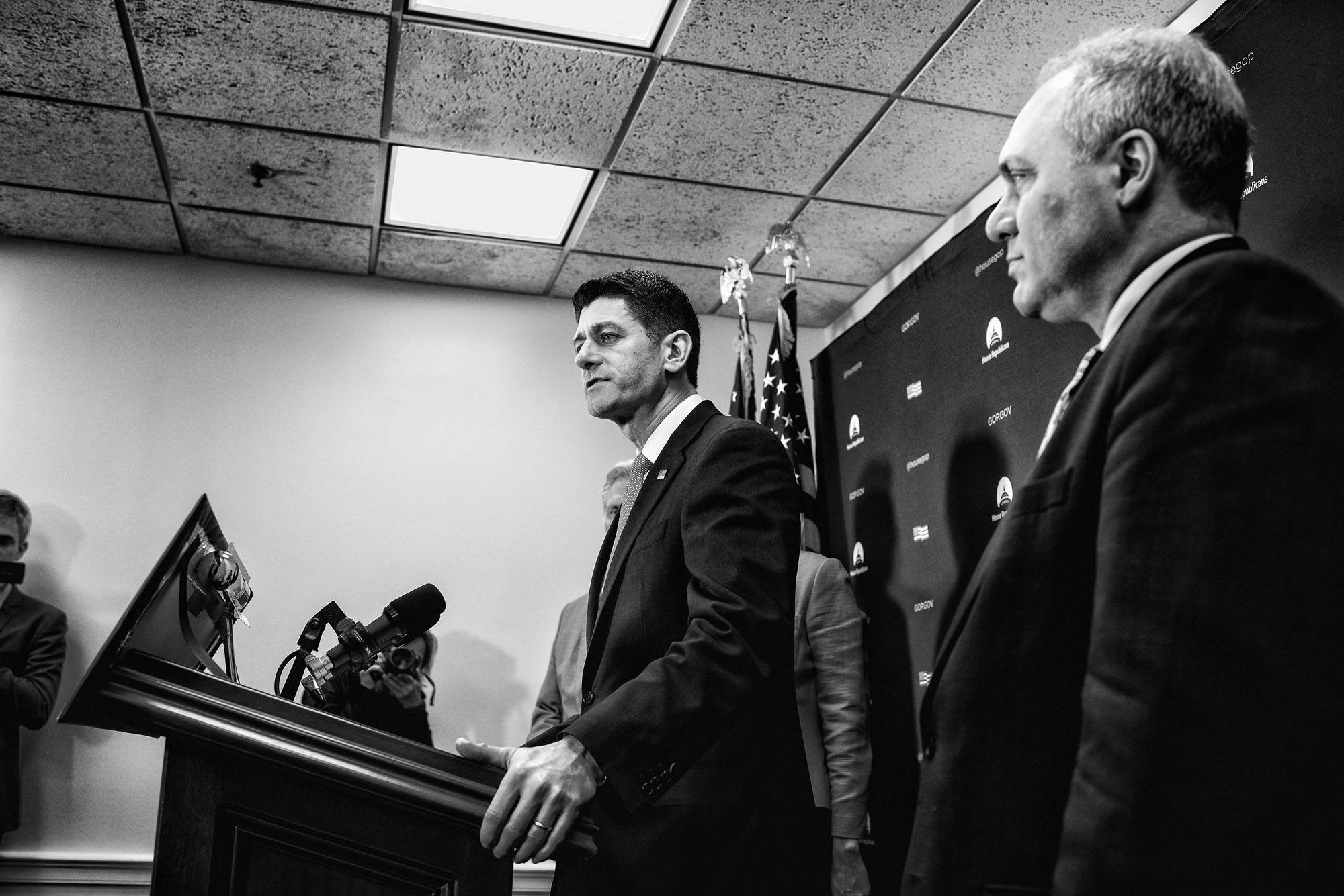 House Speaker Paul Ryan speaks to the media during a briefing after attending a closed House Republican conference on March 28, 2017