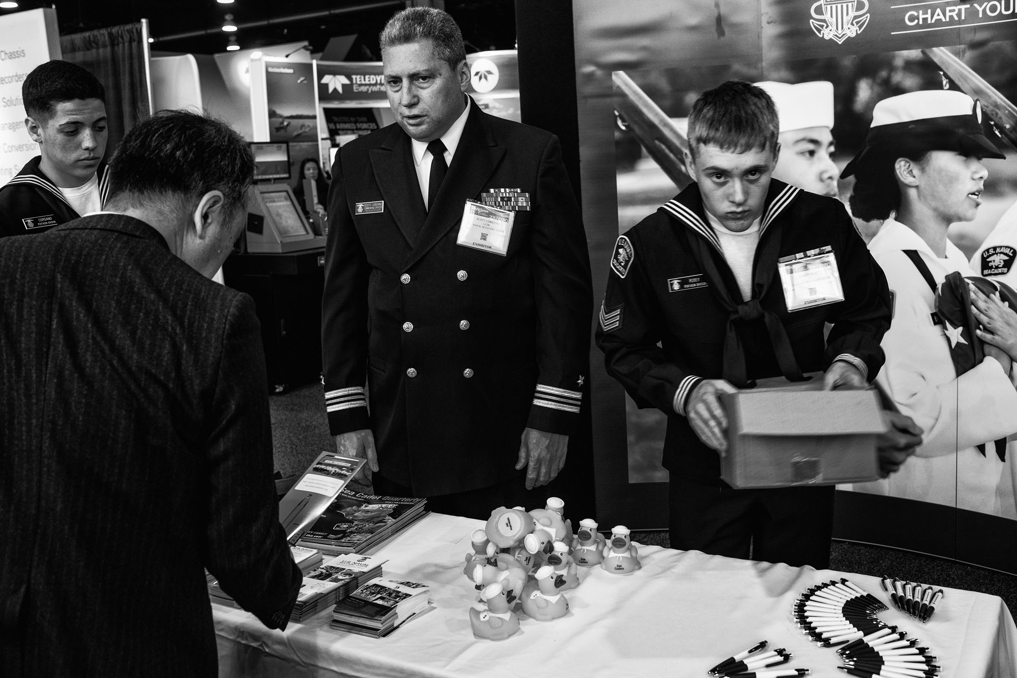 Exhibitors at The Navy League's Sea-Air-Space Exposition in National Harbor, Maryland on April 3, 2017. The Trump Administration's proposed budget would increase military spending by 10%, or $54 billion in the coming fiscal year.