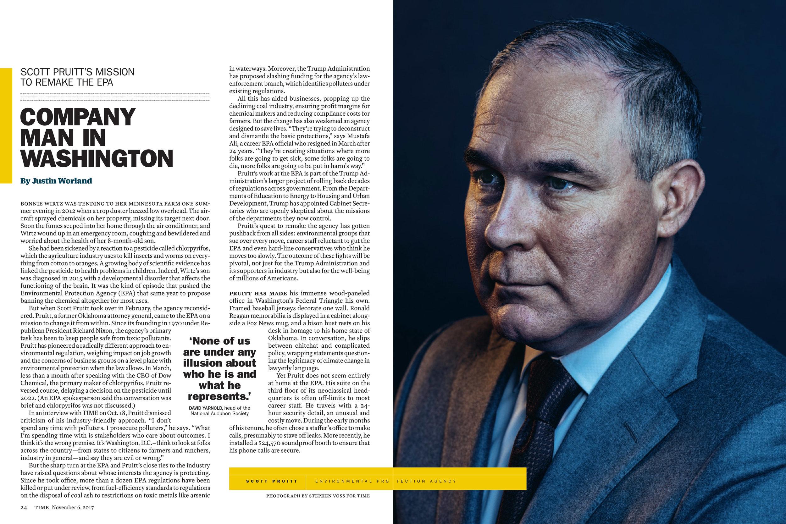 EPA Administrator Scott Pruitt for Time Magazine