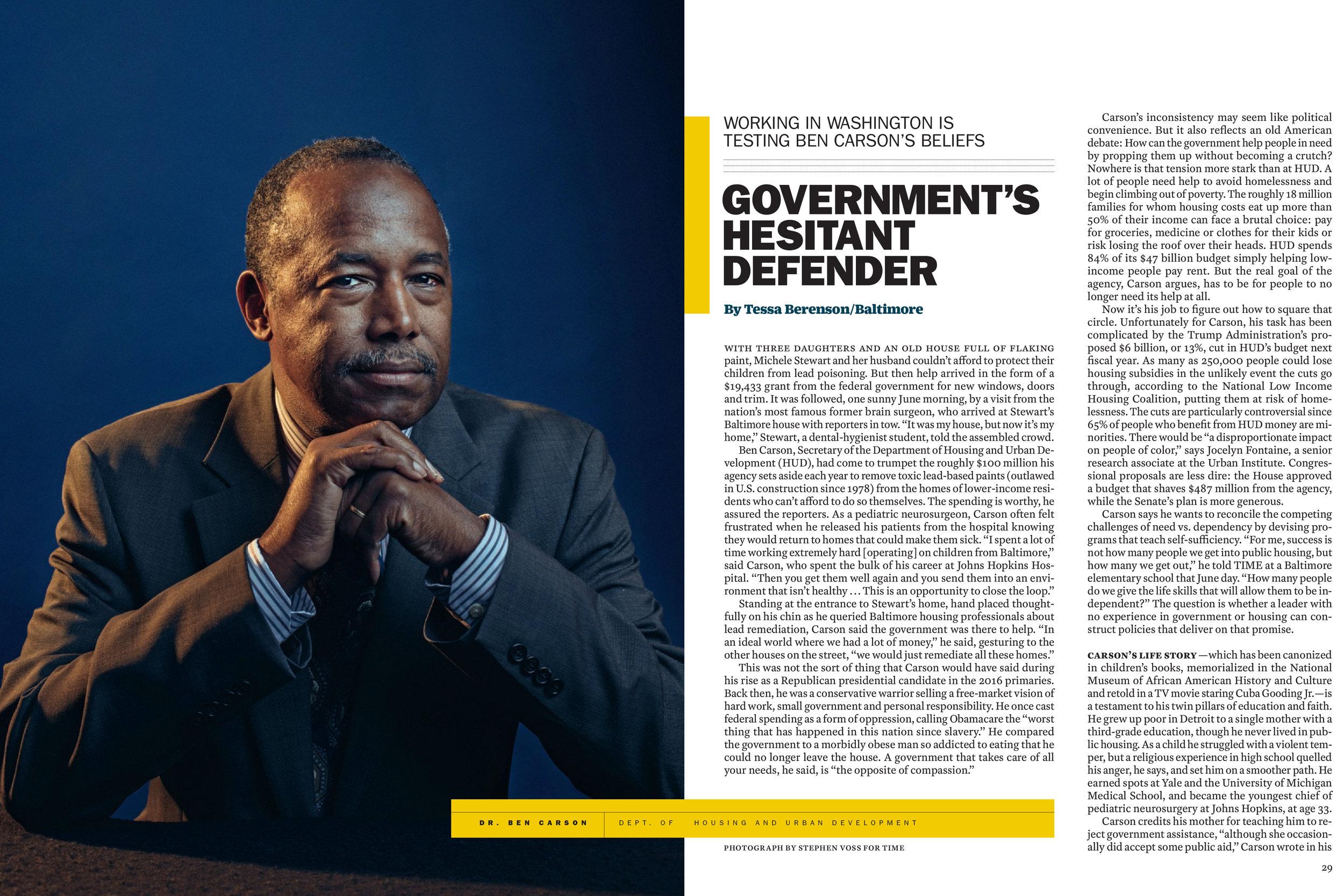 HUD Secretary Ben Carson for Time Magazine