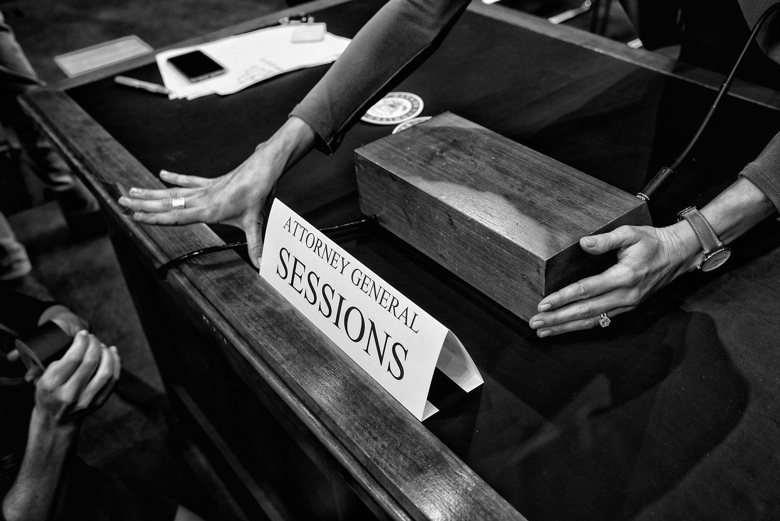 Day 145: A name card is taped onto the desk where Attorney General Jeff Sessions will testify before the Senate Intelligence Committee at the Hart Senate Office Building in Washington, DC on June 13, 2017.