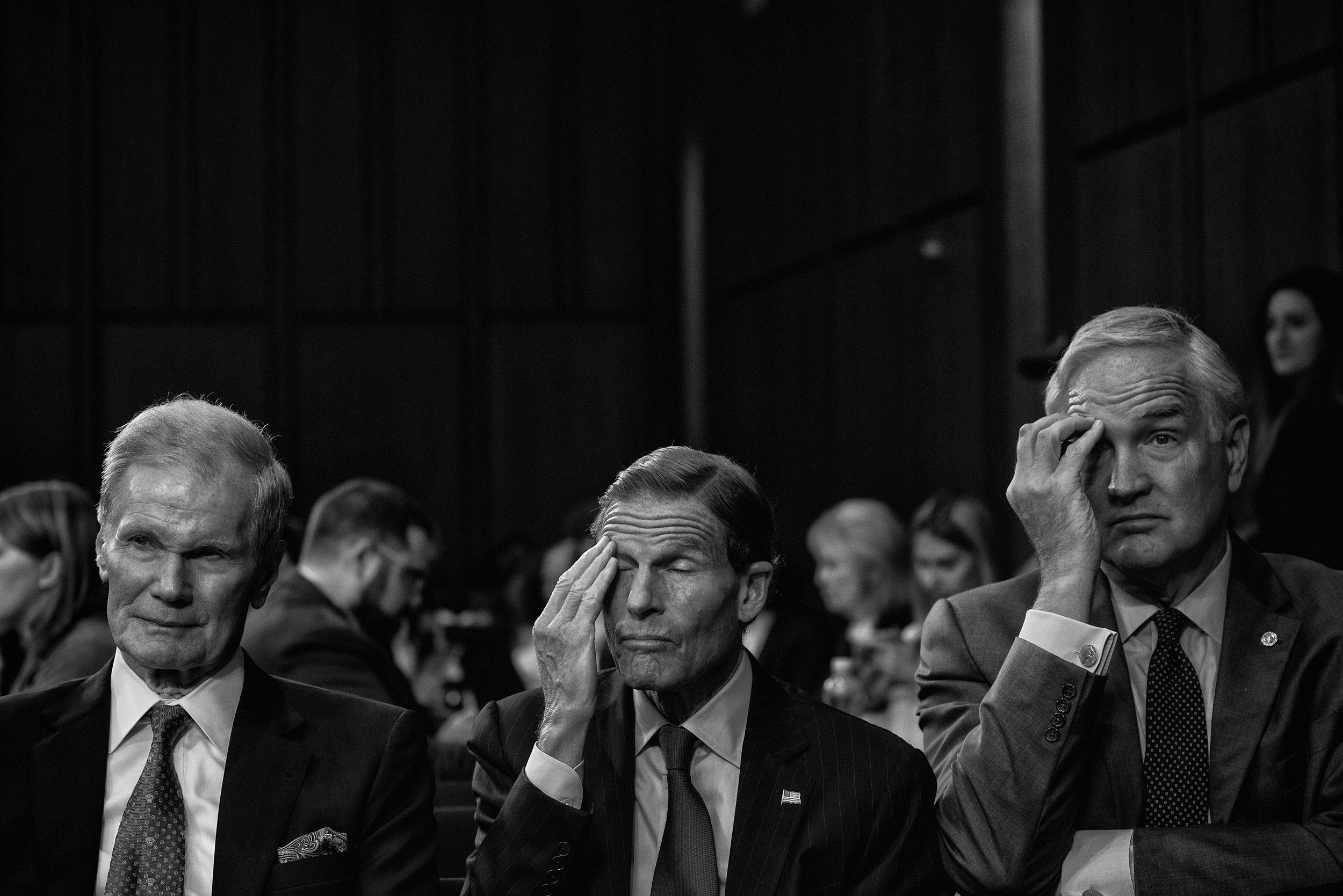 Day 145: Senators Nelson, Blumenthal and Strange listen to the testimony of Attorney General Jeff Sessions before the Senate Intelligence Committee at the Hart Senate Office Building in Washington, DC on June 13, 2017.