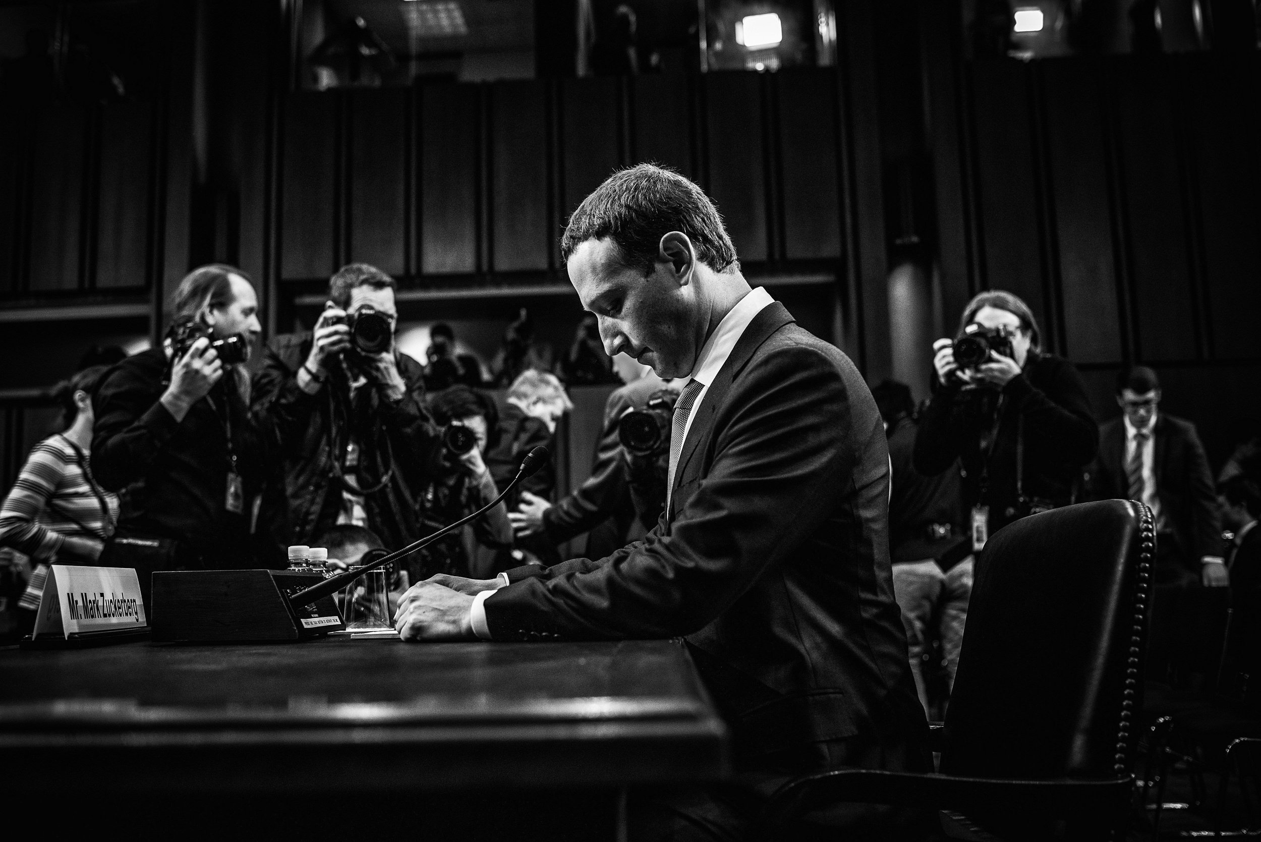 Day 446: Facebook CEO Mark Zuckerberg arrives to testify before a joint hearing of the Commerce and Judiciary Committees, in Washington, DC on Tuesday, April 10, 2018.