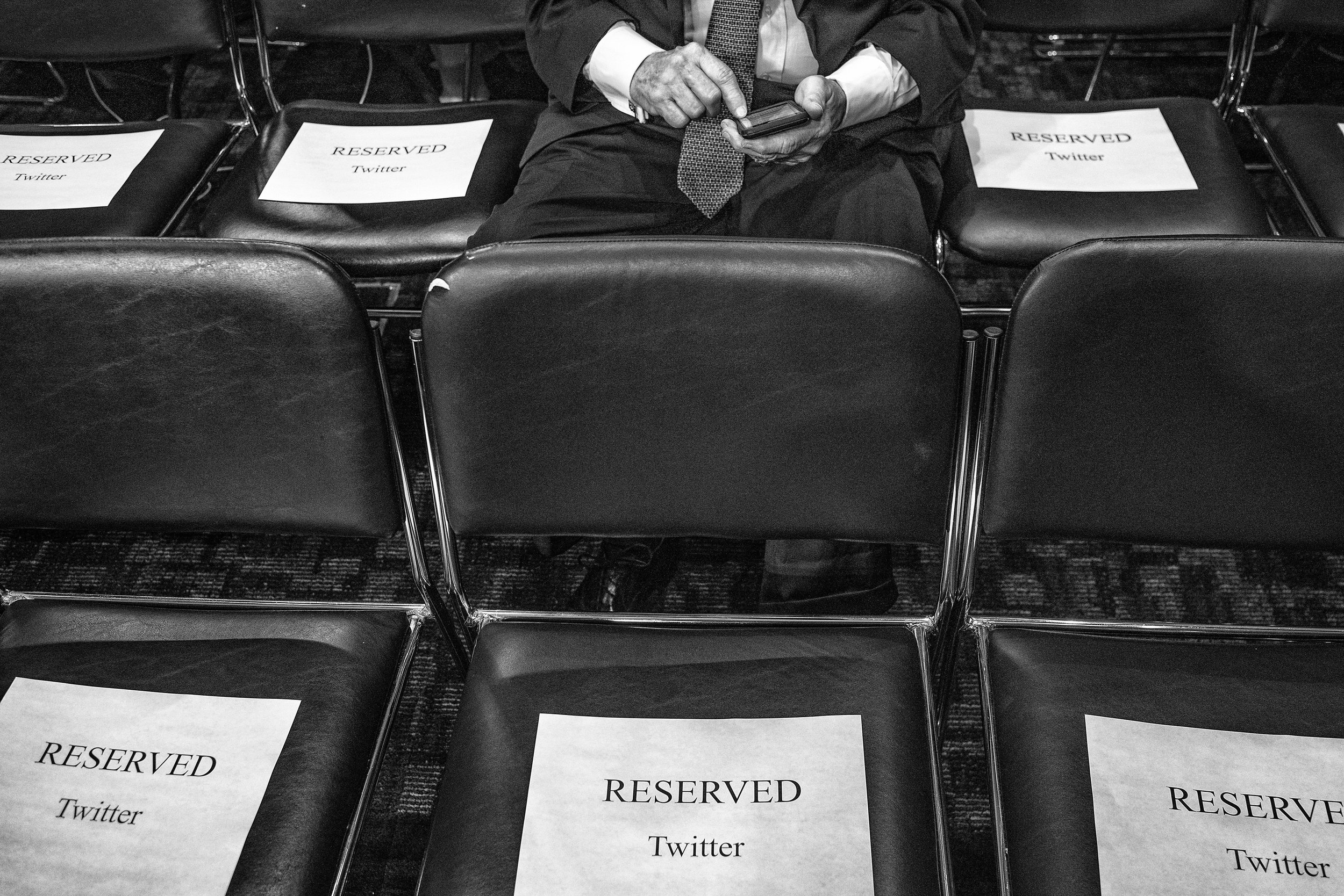 Day 594: Seats reserved for Twitter employees at a Senate Intelligence Committee hearing in Washington, DC on September 5, 2018.