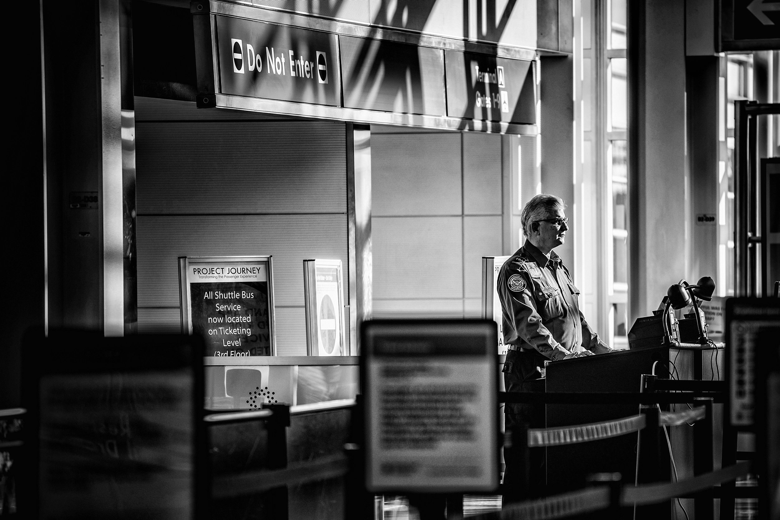 Day 719: A TSA worker at Reagan National Airport in Arlington, VA, on January 8, 2019. TSA airport security screeners are being forced to work without pay during the government shutdown.