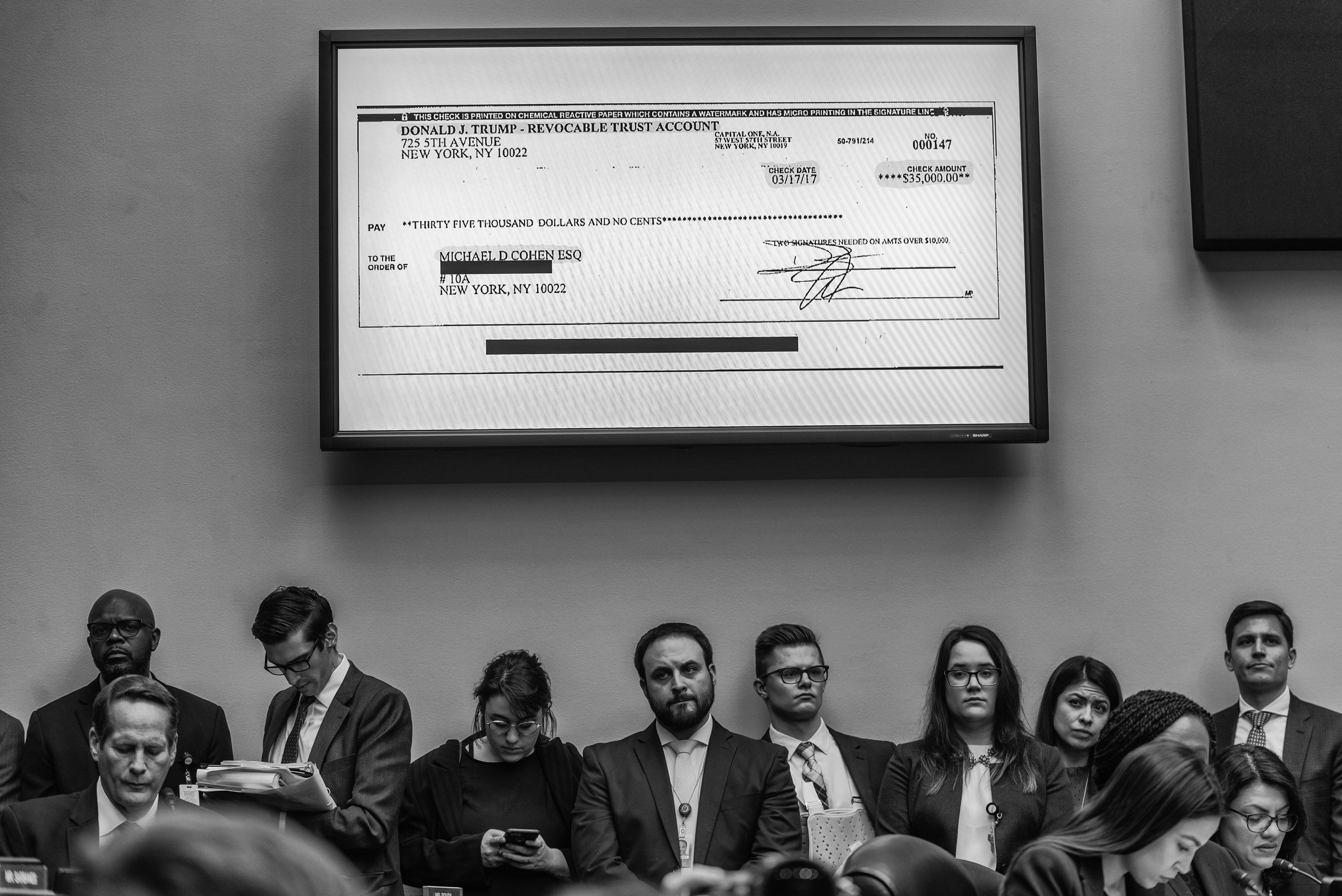 Day 769: The check written to Michael Cohen by President Trump is displayed before the House Committee on Oversight and Reform, in Washington, DC on February 27, 2019.