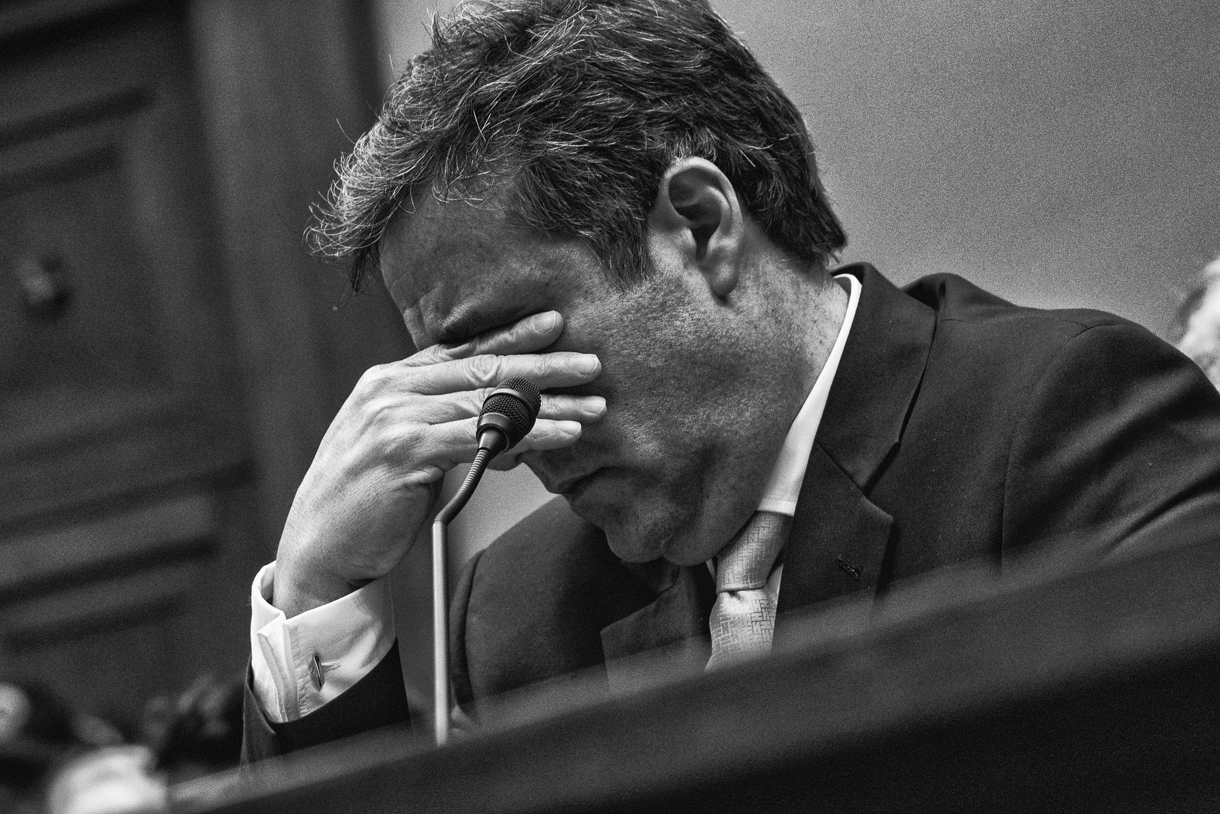 Day 769: Michael Cohen, former attorney to US President Donald J. Trump, tears up while listening to the closing statement of Chairman Elijah Cummings before the House Committee on Oversight and Reform, in Washington, DC on February 27, 2019.