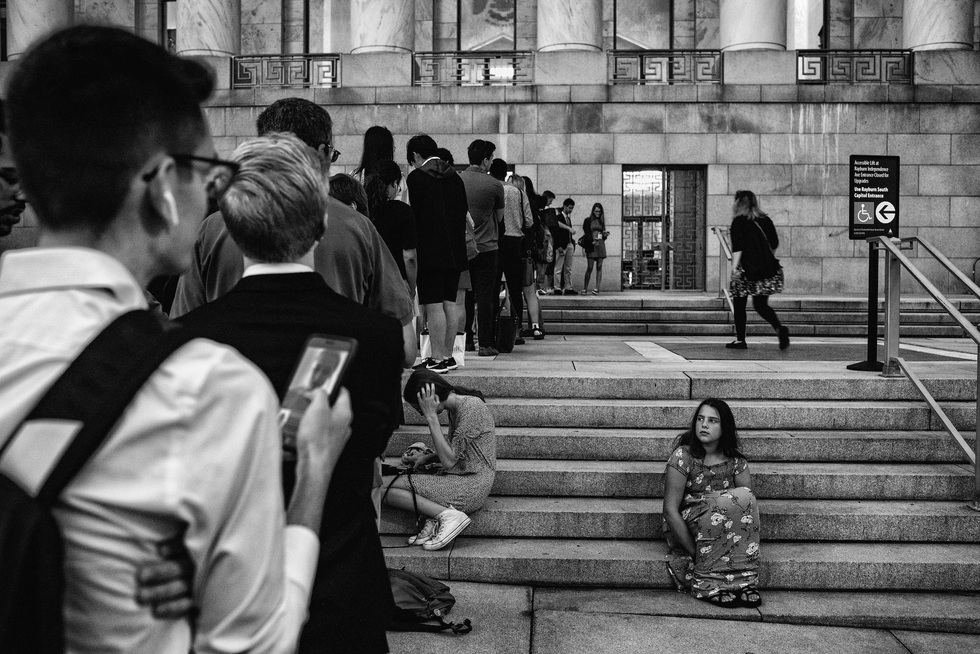 Day 915: People wait outside the Rayburn House Office Building in Washington, DC on July 24th, 2019, the day of former Special counsel Robert Mueller's testimony before the House Judiciary and Intelligence Committees.