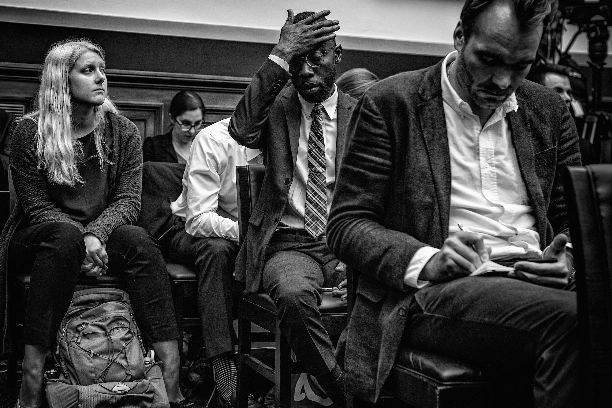 Day 915: Spectators watch former Special counsel Robert Mueller testify before the House Judiciary Committee in the Rayburn House Office Building in Washington, DC on July 24th, 2019.