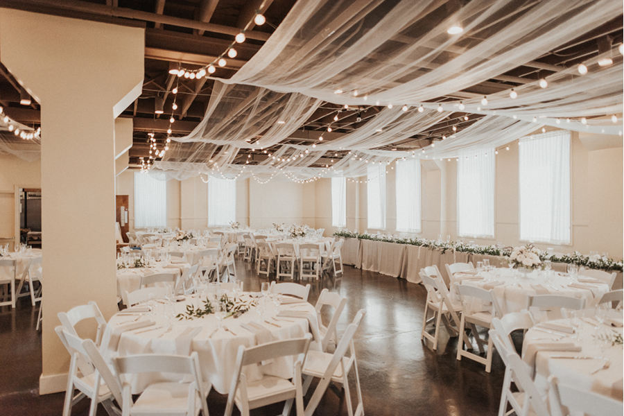 Romantic wedding decorations, ceiling fabric, wedding reception hall Tacoma, Events on 6th, Photo by Mayfield Photo and Film