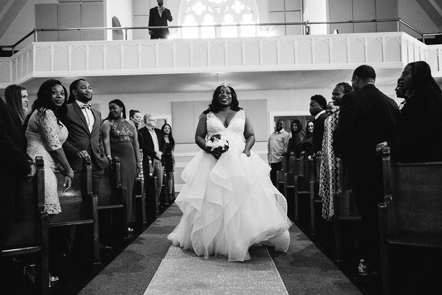 Bride coming down the aisle, Tacoma wedding venue, church wedding, stained glass, Events on 6th, Photo by Ike and Tash