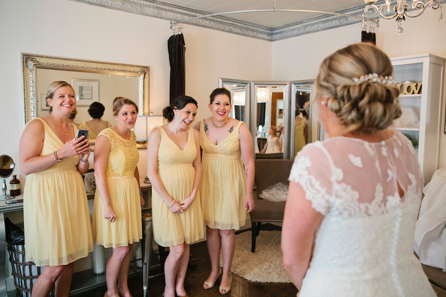 Bride tribe, bride's dressing room, bridesmaids first look, yellow bridesmaids dresses, Events on 6th, Photo by Lisa Monet Photography