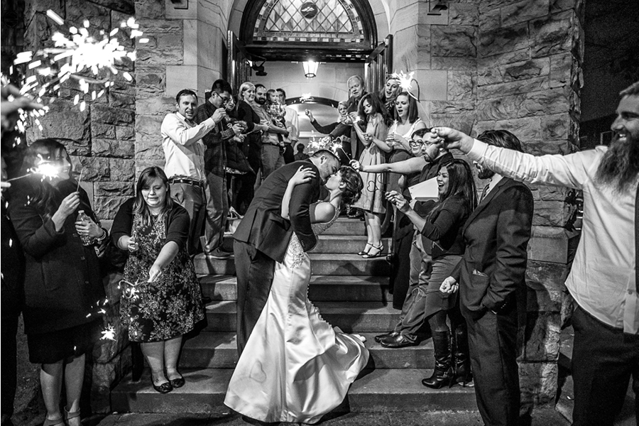 Wedding sendoff with sparklers, bride and groom grand exit, stone church, stained glass, Tacoma church wedding, Events on 6th, Photo by RC Media