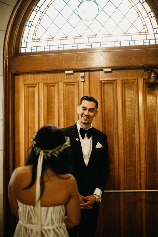 Seattle Wedding Venues Groom Happy First Look.jpg