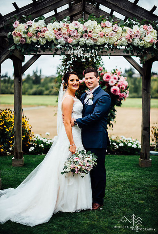 Katrina from Love Blooms creates amazing floral for your wedding!  Photo by Rebecca Anne Photography (This pic is not at Events on 6th)