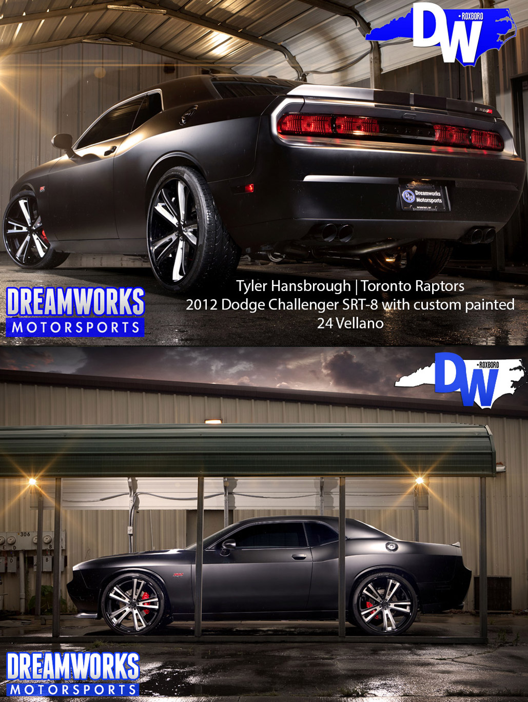 "Tyler Hansbrough's 2012 Dodge Challenger SRT-8 with custom painted 24"" Vellano"