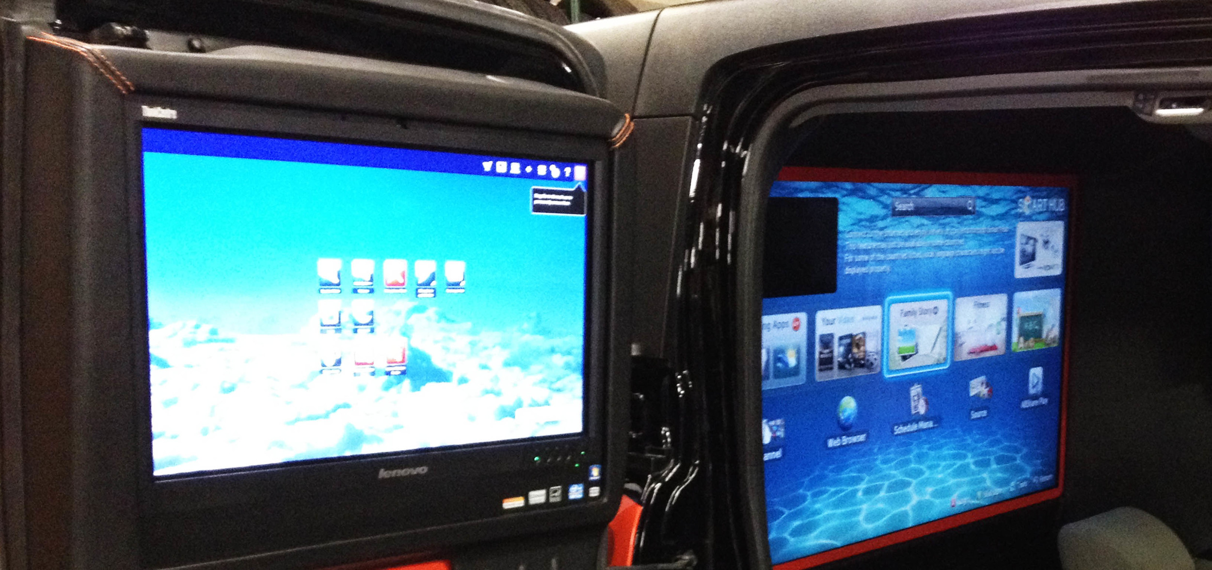 """ELECTRONICS Whether you want to put an iPad in the dashboard, add TVs in the headrests, add a 40"""" screen in a Sprinter Van, or make a really unique promotional vehicle (like Fox50's """"Zu"""" pictured above), we make it happen. Seamless monitors, on budget."""