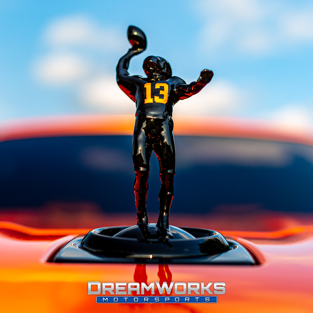 "OBJ's ""The Catch"" - We custom made a one of one concept of Odell on the front of his new Rolls Royce Cullinan! This figure of Odell Beckham Jr comes up and down just like the Rolls Royce Factory emblem, The Spirit of Ecstasy."