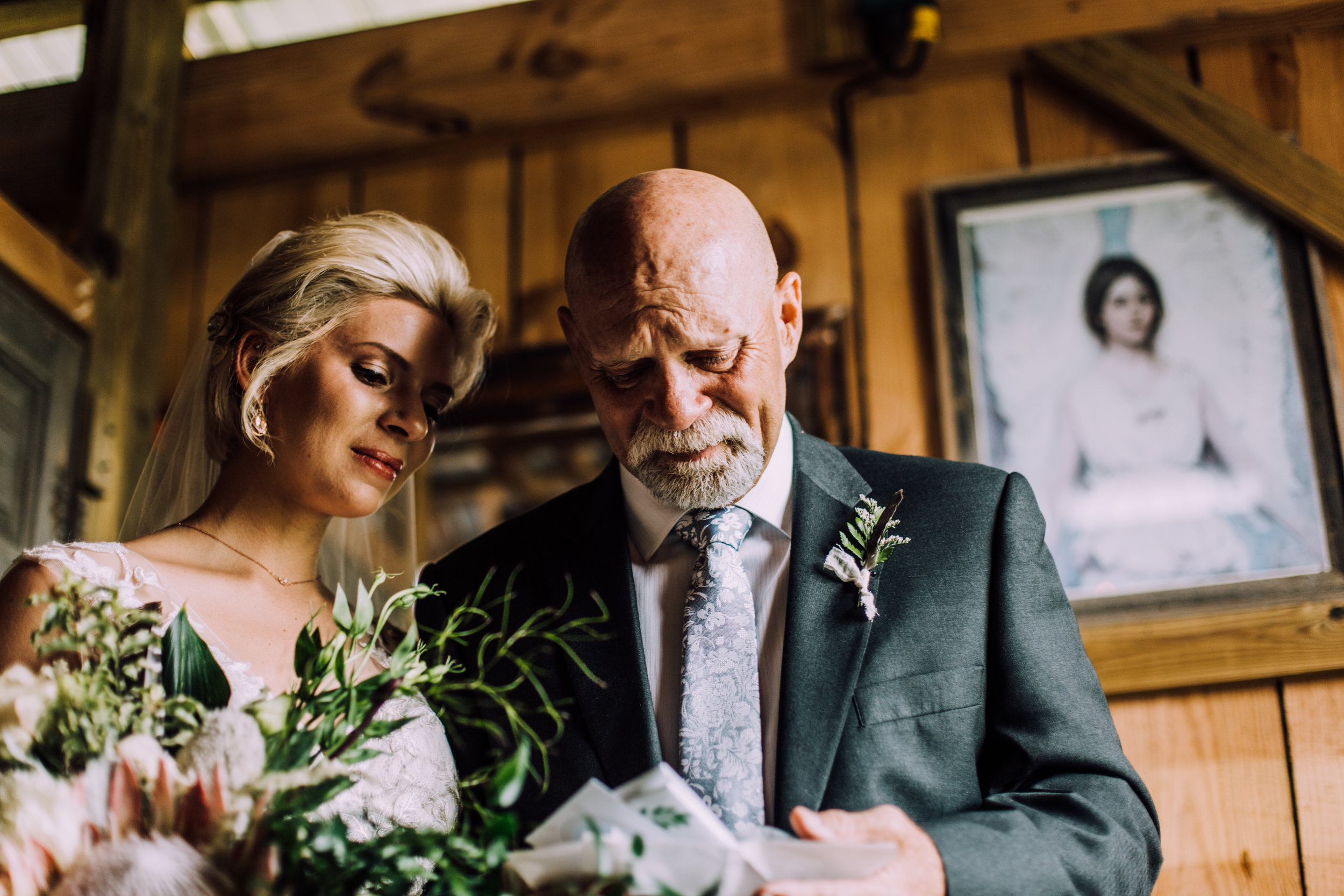 father of bride crying at letter