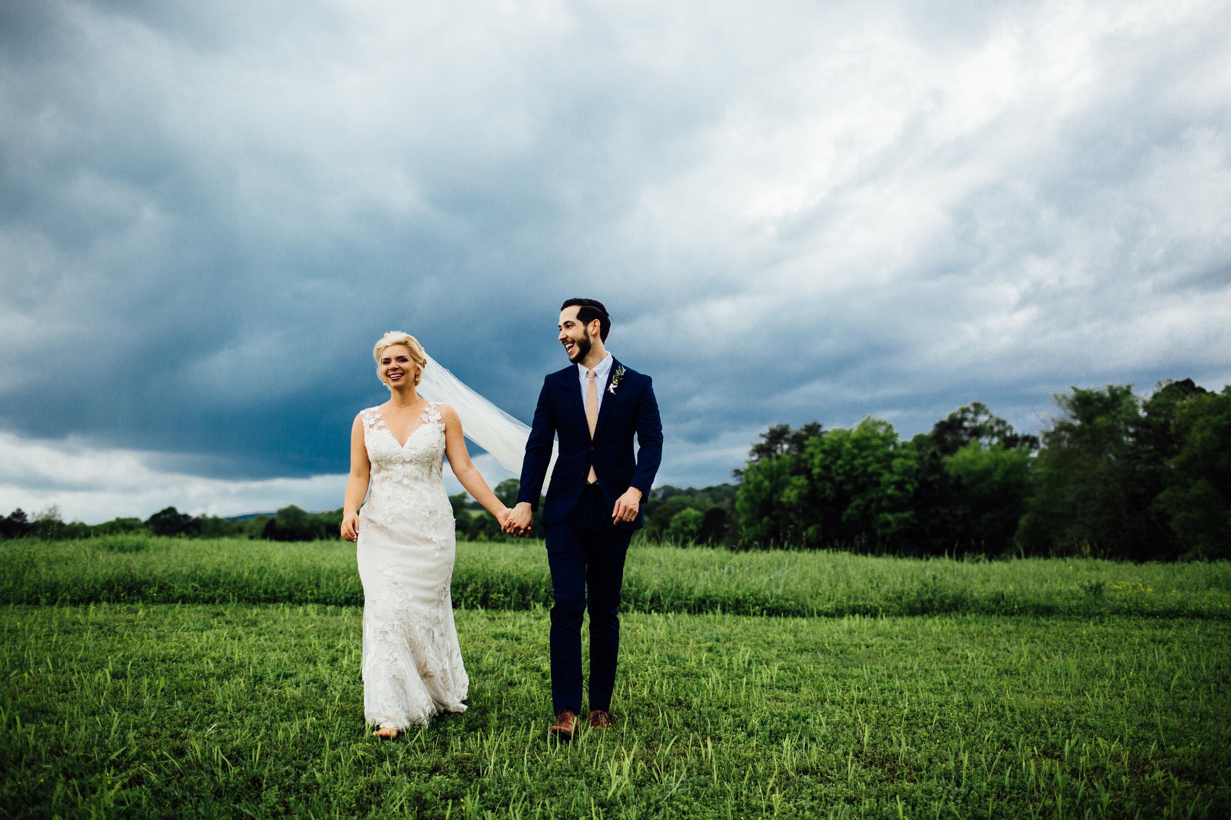 stormy sky bride and groom portraits