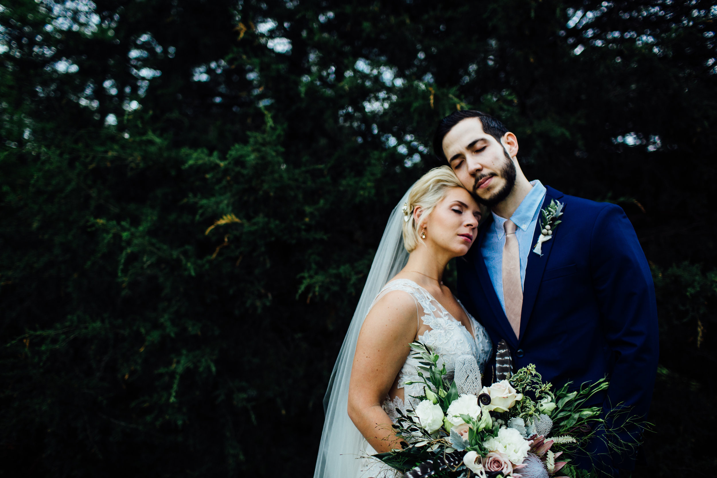 bride and groom closed eyes