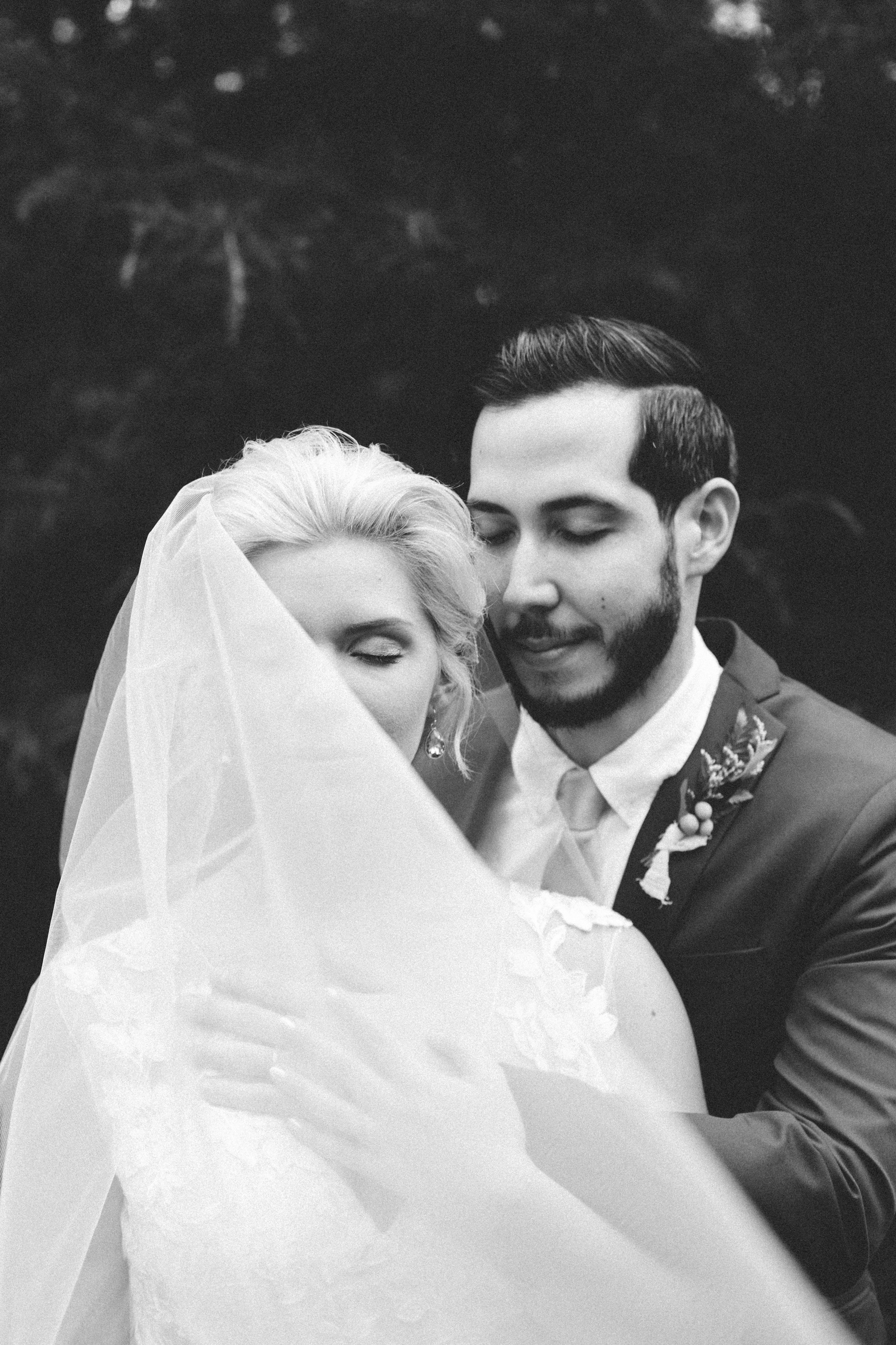 monochrome bride and groom closed eyes