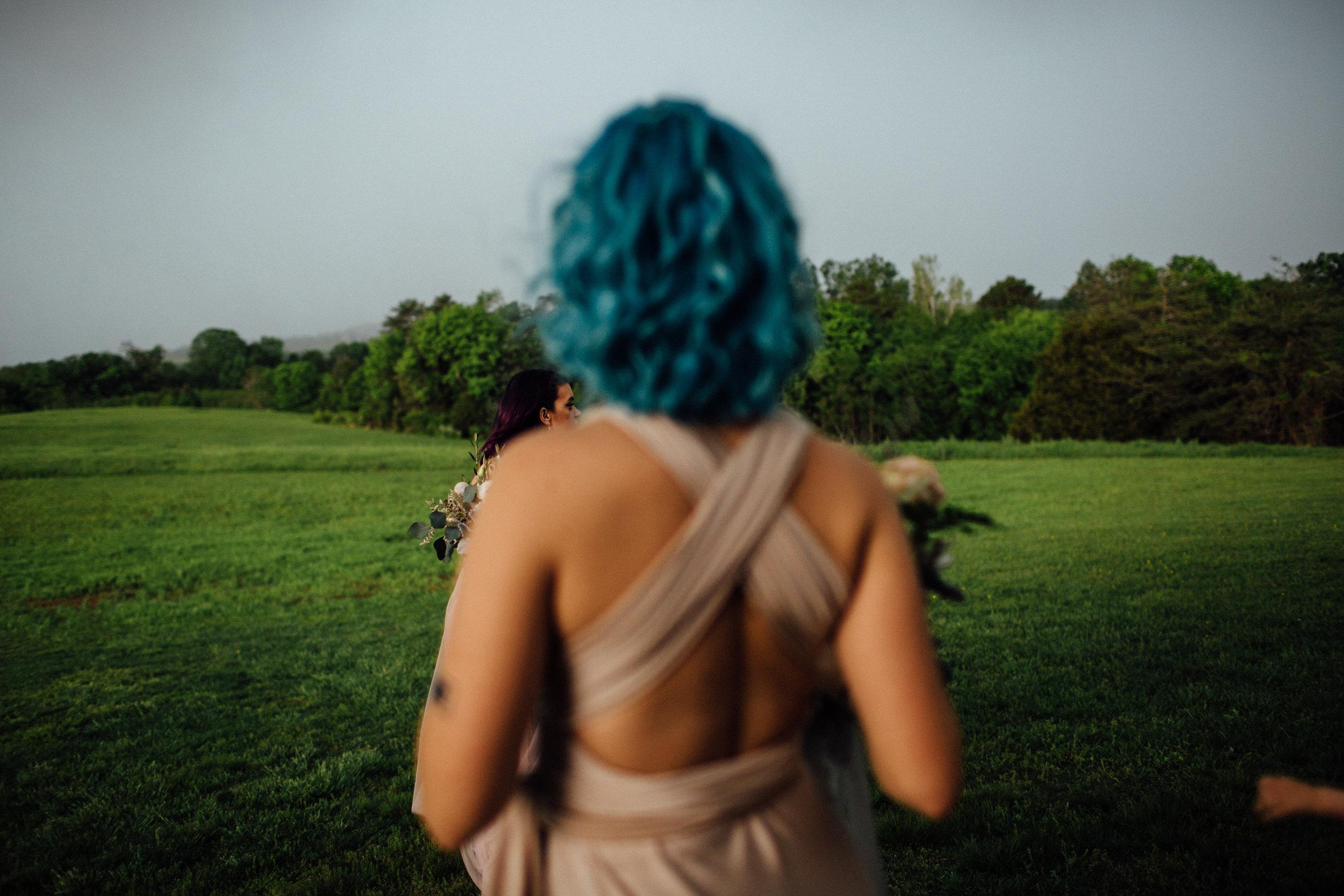 blue hair bridesmaid looks back on storm