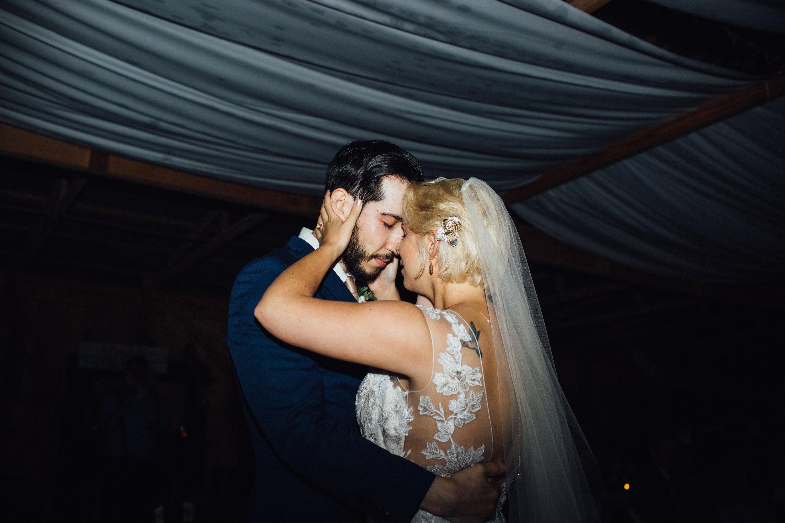 emotional first dance between bride and groom