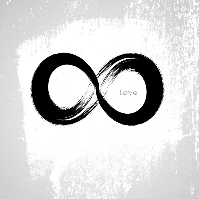 Symbol for polyamory: Infinity symbol with the word love written inside of it