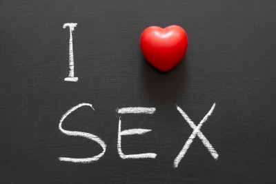 """Sign that reads """"I love sex"""""""