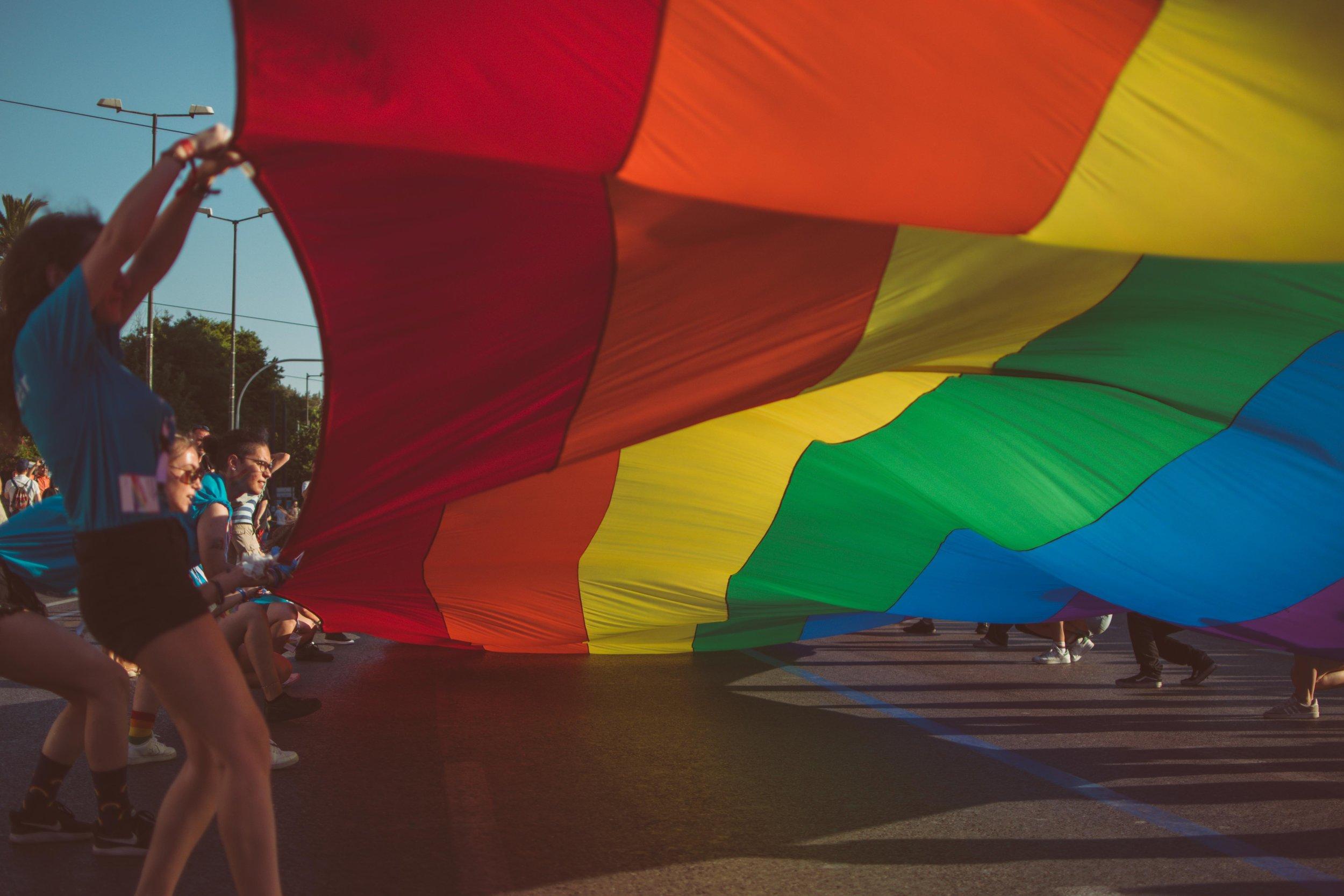 LGBT pride flag parade