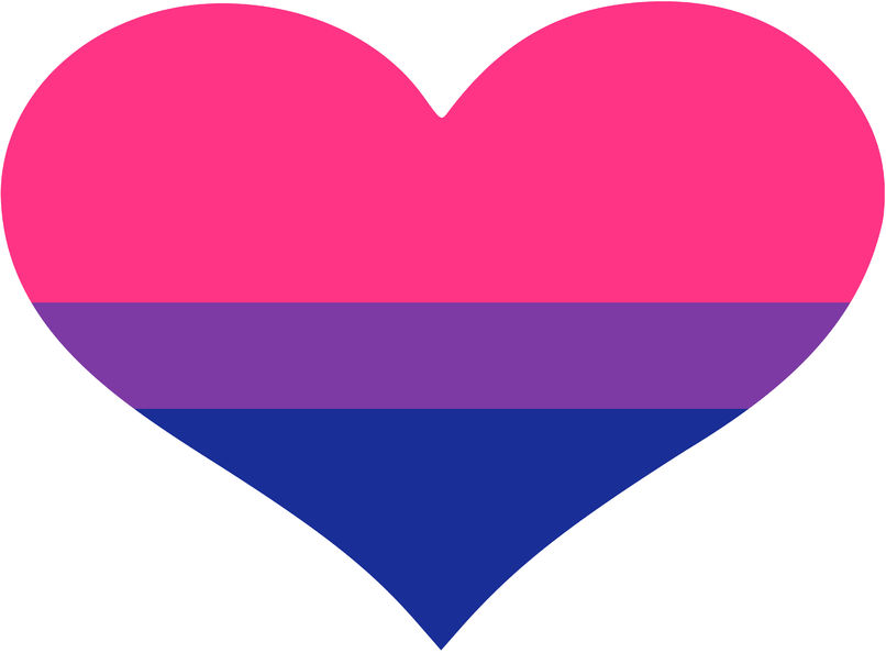 Bisexual flag in the shape of a heart