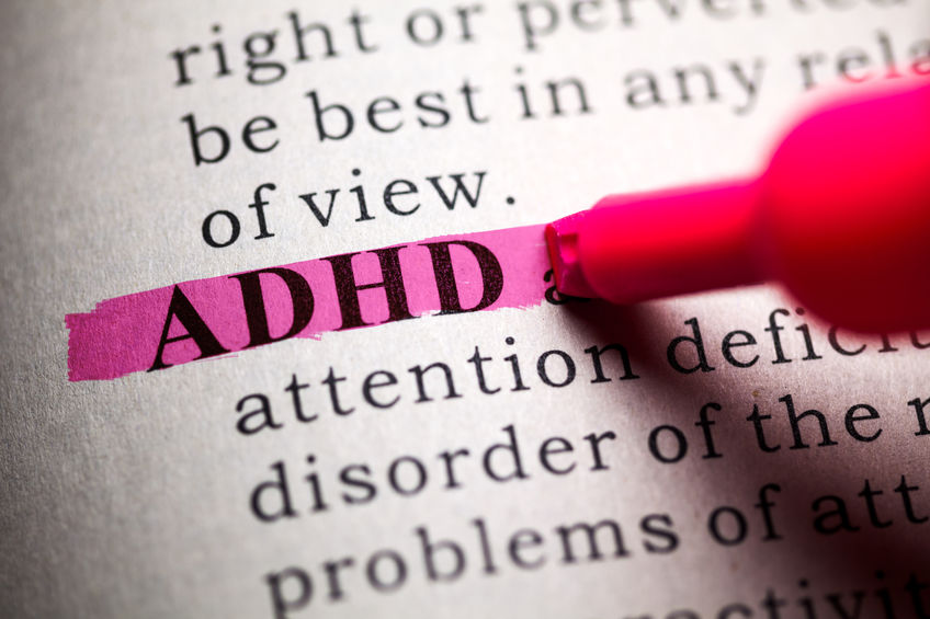 ADHD word being highlighted in a dictionary.