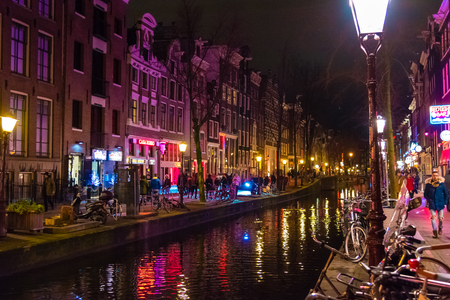 Amsterdam canals by night.