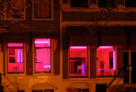 Red light district in Amsterdam, the Netherlands.