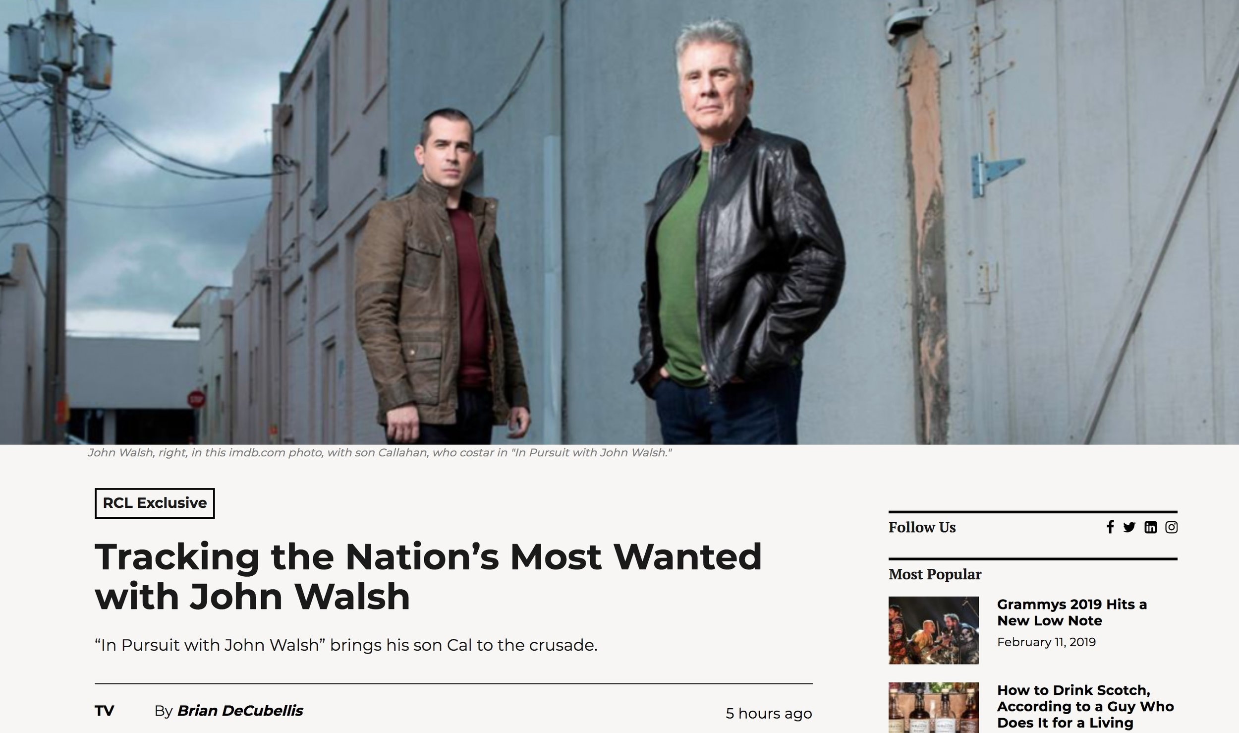 "Wrote this piece on my experience behind the scenes on ""In Pursuit With John Walsh"""
