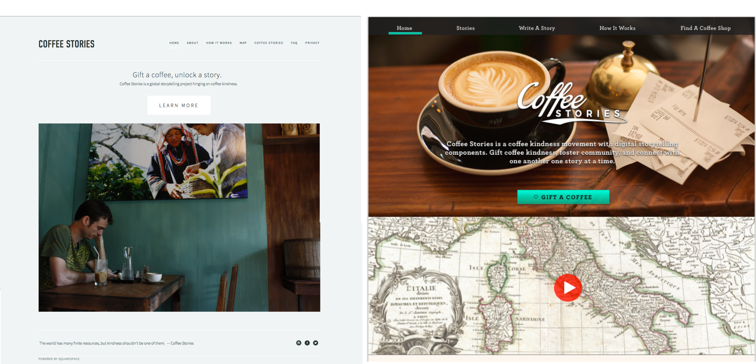 """We created a strong visual message with the company mission front and center along with a strong call to action to """"Gift a Coffee"""""""