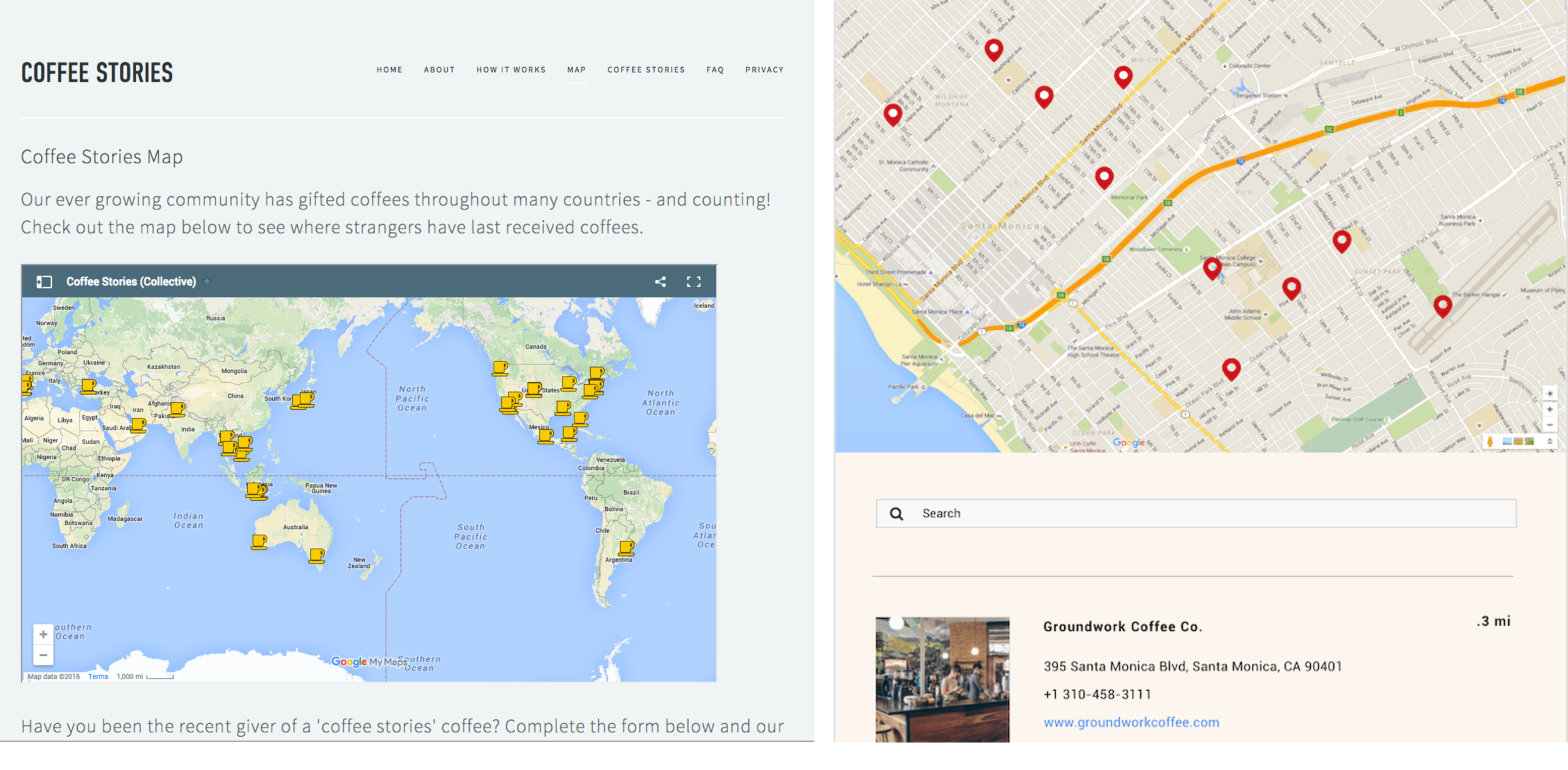 We developed an easy way for users to find a participating location