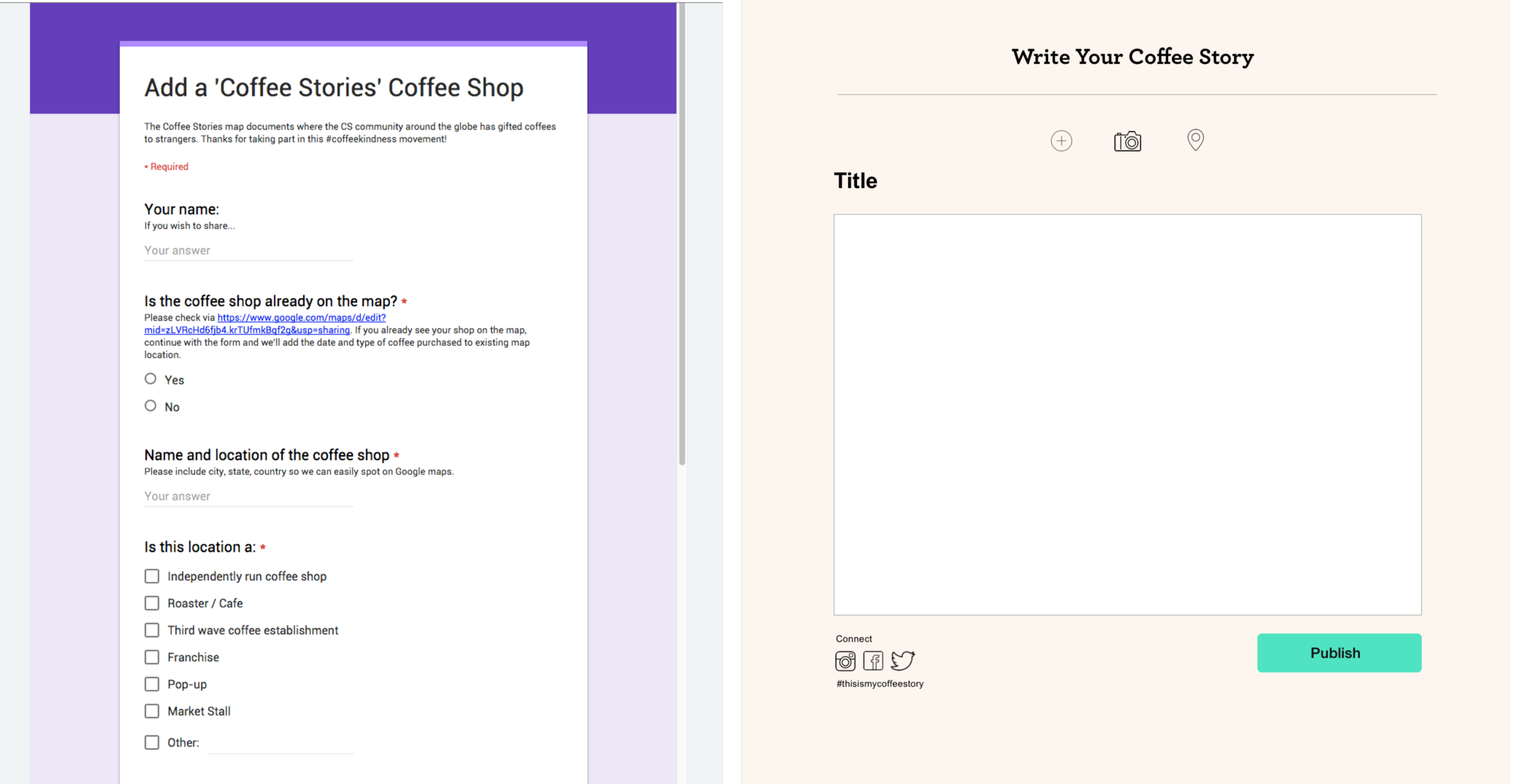 """We designed a much simpler form to make it as easy as possible to """"share your story"""""""