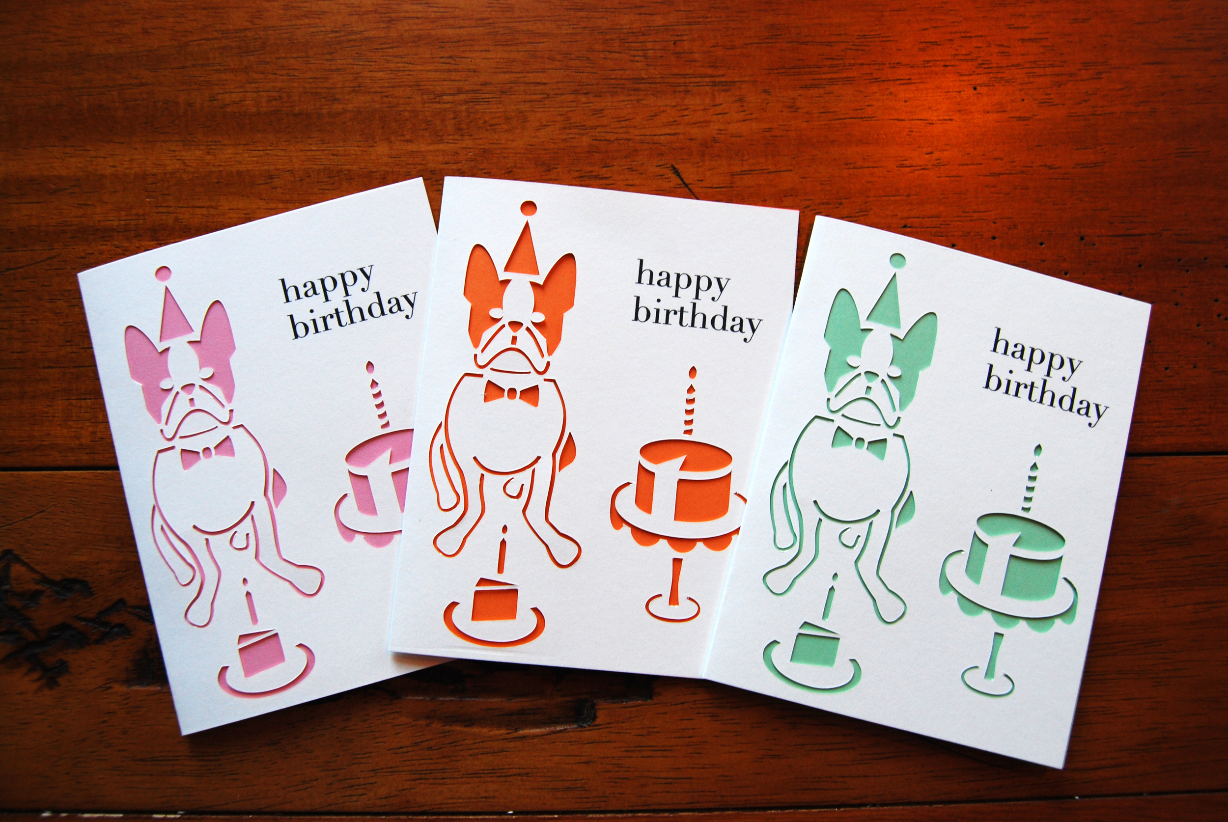 """Introducing our new Boston Terrier Birthday Card, based on my own little Boston terrier, Winston Churchill! It made it's grand debut at """"First Friday"""" and is now available in our store!"""